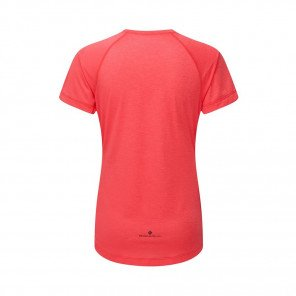 RONHILL Tee-shirt manches courtes MOMENTUM Femme | Hot Pink Marl/Charcoal