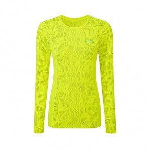 RONHILL Tee-shirt manches longues Momentum Afterlight Femme   Fluo yellow Reflect
