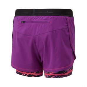 RONHILL SHORT TWIN MOMENTUM Femme | GRAPE JUICE/HOT CORAL